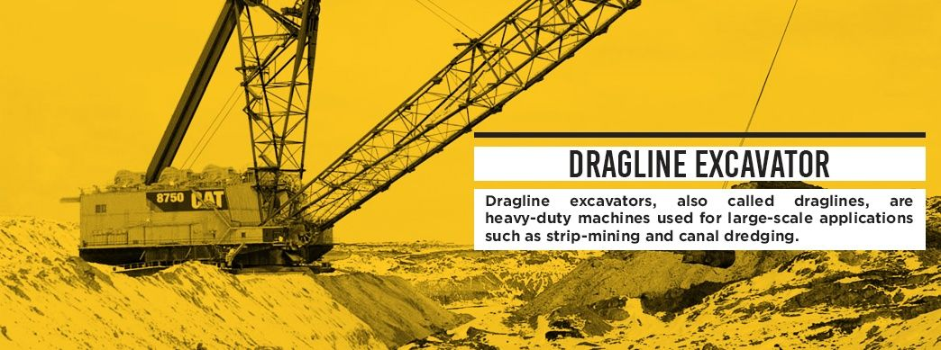 Dragline excavators, also called draglines, are heavy-duty machines used for large-scale applications such as strip-mining and canal dredging.
