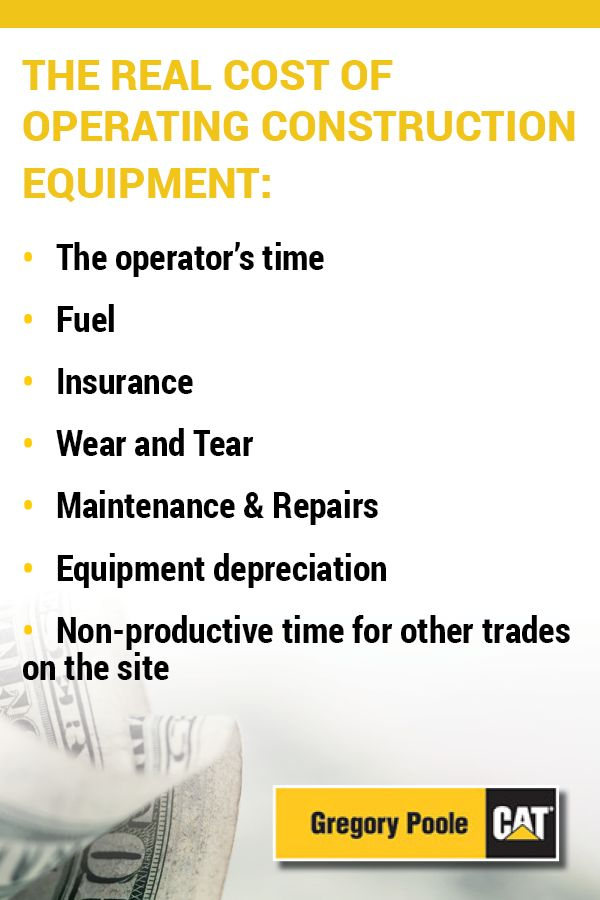 The real cost of operating construction equipment includes not just the operator's time, but also fuel, insurance, wear and tear, maintenance and repairs, equipment depreciation and non-productive time for other trades on the site.
