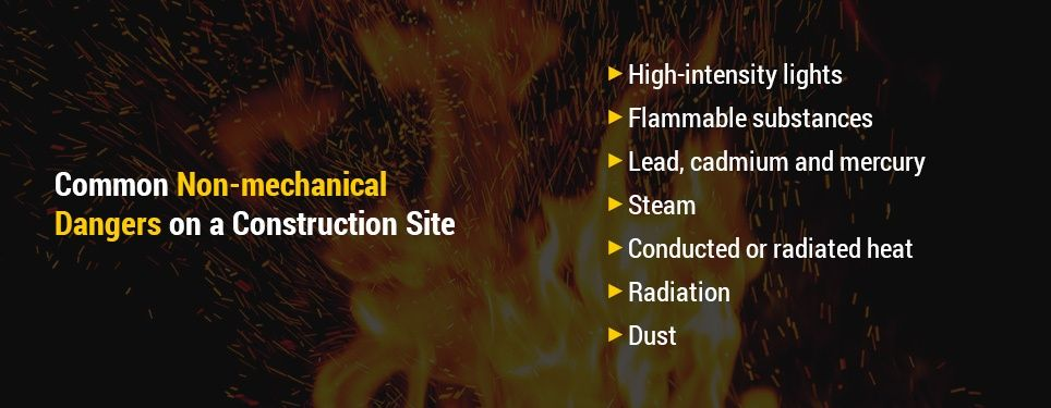 Common non-mechanical dangers on a construction site include: High-intensity lights like welding flashes and lasers Flammable substances Lead, cadmium and mercury Steam Conducted or radiated heat Radiation like X-rays and microwaves Dust